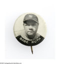 Baseball Collectibles:Others, 1928 PM6 Babe Ruth Pin. Scarce little pin has oxidation on verso,but front presents as EX. These pins are believed to hav...