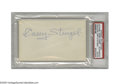 "Autographs:Index Cards, 1970's Casey Stengel Signed Index Card. Classic signature appearson the blank side of a 3x5"" card. Ink is 10/10. Slabbed..."