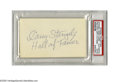 "Autographs:Index Cards, 1970's Casey Stengel Signed Index Card. Inscription penned on the blank side of an index card reads ""Casey Stengel, Hall of..."
