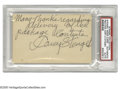 "Autographs:Index Cards, 1970's Casey Stengel Signed Index Card. Brief note penned on theblank side of an index card reads ""Many thanks regarding d..."