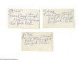 "Autographs:Index Cards, Casey Stengel Signed Index Cards Lot of 3 from the Casey StengelCollection. Trio of blank 3x5"" index cards, each featuring..."