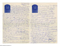 Autographs:Letters, Circa 1970 Casey Stengel Handwritten Letter from the Casey StengelCollection. Fantastic content in this tightly packed two...
