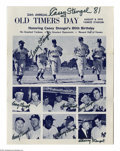 Autographs:Others, Casey Stengel Multi-Signed Program from the Casey StengelCollection. Program for the 1970 Old Timers Day at YankeeStadium...