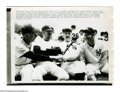 Autographs:Photos, Casey Stengel Signed Wire Photograph from the Casey StengelCollection. Mickey Mantle and Joe DiMaggio shake hands in front...