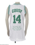 Basketball Collectibles:Others, Bob Cousy Signed Jersey. Fine replica of his Boston Celtics white mesh gamer is signed on the rear numerals in 10/10 silve...
