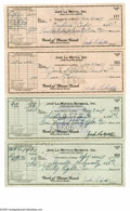 Boxing Collectibles:Autographs, 1957 Jake LaMotta Signed Checks Lot of 4. Quartet of checks related to the Raging Bull's post-career business enterprises i...