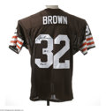 Football Collectibles:Others, Jim Brown Signed Jersey. Perfect replica of the Hall of Fame running back's Cleveland Browns gamer is signed on verso in fl...