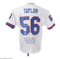 Football Collectibles:Others, Lawrence Taylor Signed Jersey. The punishing sack-master signed the rear numerals of this New York Giants replica jersey in...