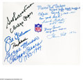 Football Collectibles:Balls, NFL Legends Autographed Sheet. NFL legends Sid Luckman, Ray Nitschke, Sid Gillman, George Musso, Charles Conerly, Lamar Hun...