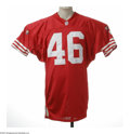 Football Collectibles:Uniforms, 1995 Tim McDonald Game Worn Jersey. Nice wear evident on this red mesh San Francisco 49'ers jersey worn by the six-time Pro...