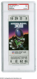Football Collectibles:Tickets, 1979 Super Bowl XIII Full Ticket PSA NM 7. The Pittsburgh Steelers defeat the Dallas Cowboys 35 to 31 to become the first te...
