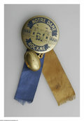 Football Collectibles:Others, Circa 1931 Knute Rockne Pinback. Tough pinback was issued shortly after Rockne's tragic death. Ribbon and football charm s...