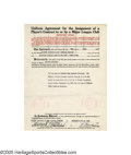 Autographs:Others, 1937 Eddie Collins Signed Uniform Agreement. He was, along withcatcher Ray Schalk, the only White Sox infielder that didn'...