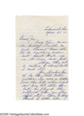 Autographs:Letters, Early 1960's Jimmie Foxx Handwritten Letter. The second man to earn a key to the 500 Home Run Clubhouse, Foxx was in his de...