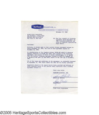 1962 Roger Maris Signed Contract for Hartland Statue. The biggest star in baseball the year after his historic Babe-bust...