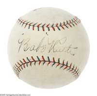 """Circa 1927 Babe Ruth Single Signed Baseball, PSA NM 7. If the all-important quotation marks around the """"Babe""""..."""