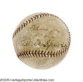 Autographs:Baseballs, 1930 Tris Speaker Signed Baseball. Just two seasons after the GreyEagle closed out his spectacular Hall of Fame career wit...