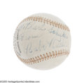Autographs:Baseballs, 1930's Babe Ruth Single Signed Baseball. Place this signature on the sweet spot of an OAL (Harridge) ball, take away the pe...