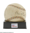 "Autographs:Baseballs, 1933 Babe Ruth & Lou Gehrig Signed Baseball. An autographcollector's dream piece, this ""Babe Ruth Home Run Special""baseba..."