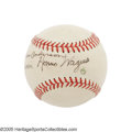 "Autographs:Baseballs, 1940's Honus Wagner Single Signed Baseball. ""You can have your Cobbs, your Lajoies, your Chases, your Bakers,"" once said Hal..."