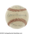 Autographs:Baseballs, Circa 1950 Baseball Legends Multi-Signed Baseball with Bender,Robinson and Mack. High-grade OAL (Harridge) ball documents ... (2)