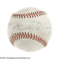 Autographs:Baseballs, 1956 Jimmie Foxx Single Signed Baseball. Consistently a stumbling block for those attempting to assemble a complete set of ...