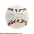 "Autographs:Baseballs, Mickey Mantle ""MVP '56 '57 '62"" Single Signed Baseball. One of thehottest commodities in the collecting market today is th..."