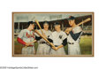 Autographs:Others, Massive Original Painting Signed by Musial, DiMaggio, Williams & Mantle from the Sarabella Collection. Clear some wall spac...