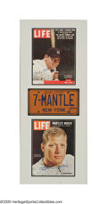 Autographs:Others, Mickey Mantle Triple-Signed Display from the Sarabella Collection. The construction and apparent wear on the 1970's style N...