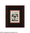"Autographs:Others, Joe DiMaggio Signed ""Time Magazine"" from the Sarabella Collection. ""With runs on the bases,"" the cover exclaims, ""his bat s..."