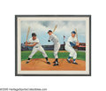 Baseball Collectibles:Others, Mays, Mantle & Snider Signed Oil Painting from the SarabellaCollection. Noted sports artist Flip Amato chose the vastness ...