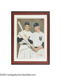 Autographs:Others, Joe DiMaggio & Mickey Mantle Signed Oil Painting from the Sarabella Collection. Though the image of the veteran slugger DiM...