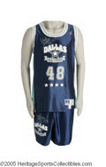 """Football Collectibles:Uniforms, 1993 Daryl Johnston """"Dallas All-Stars"""" Game Worn Basketball Uniform. Some blood staining at the collar proves this wasn't a..."""