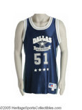 "Football Collectibles:Uniforms, 1993 Ken Norton ""Dallas All-Stars"" Game Worn Basketball Jersey. The veteran Pro Bowl linebacker from UCLA. Number ""51"" on ..."