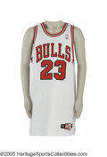 Basketball Collectibles:Uniforms, 1997-98 Michael Jordan Game Worn Jersey. It all ended with afade-away jumper in Game Six of the NBA Finals, perhaps Air Jo...