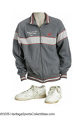 Basketball Collectibles:Uniforms, 1985 Len Bias Worn Warm-Up Jacket & Practice Sneakers from theLen Bias Collection. Direct from the closet of this immensel...