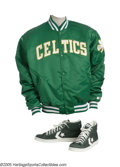 Basketball Collectibles:Uniforms, 1986 Len Bias Boston Celtics Jacket & Sneakers from the LenBias Collection. More sad reminders of what could have been, th...
