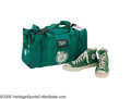 Basketball Collectibles:Uniforms, 1986 Larry Bird Gift of Sneakers & Gym Bag to Len Bias from theLen Bias Collection. The biggest star of the Boston Celtics...