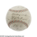 Autographs:Baseballs, 1929 Philadelphia Athletics Team Signed Baseball. Leaving evenRuth, Gehrig and the rest of the mighty Yanks in the dust th...