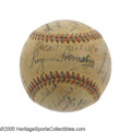 Autographs:Baseballs, 1933 St. Louis Browns Team Signed Baseball. How many Depression-erabaseballs have you seen that can boast signatures as st...