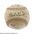 Autographs:Baseballs, 1934 Tour of Japan Multi-Signed Baseball with Babe Ruth. It was astory made for Hollywood, with the most famous man in Ame...