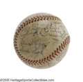 Autographs:Baseballs, 1935 First Major League Night Game Used Baseball Signed byCincinnati Reds Team. Just the day before Babe Ruth rode off int...