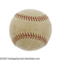 Autographs:Baseballs, 1938 New York Yankees Team Signed Baseball. A four-game sweep ofthe Chicago Cubs in the World Series this season would be ...