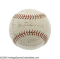 "Autographs:Baseballs, 1940 Washington Senators Team Signed Baseball. An All-Star seasonfor the right-handed ""Dutch"" Leonard, who occupies the sw..."