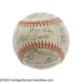 Autographs:Baseballs, 1941 Boston Red Sox Team Signed Baseball. Offered the opportunityto sit out the final game of the 1941 season to protect a...