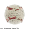 Autographs:Baseballs, 1942 New York Yankees Team Signed Baseball. The second World Warwould rob the Yankees of much of their Hall of Fame firepo...