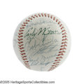 Autographs:Baseballs, 1954 Cleveland Indians Team Signed Baseball. Despite falling toWillie Mays' unstoppable New York Giants in October, this I...