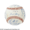 Autographs:Baseballs, 1956 Milwaukee Braves Team Signed Baseball. UPDATE: Please note that this ball is mislabeled in the catalog, and in vintag...