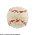 Autographs:Baseballs, 1956 New York Yankees Team Signed Baseball. Fans in the Bronxcertainly got their money's worth this season, as the great M...