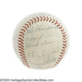 Autographs:Baseballs, 1957 Milwaukee Braves Team Signed Baseball. Big bats and superstarpitching arms led the Braves all the way to the promised...